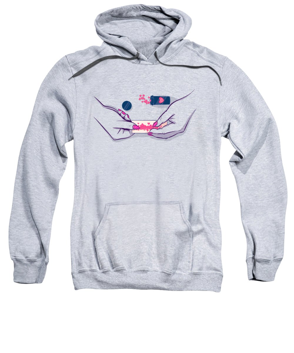 Love Sweatshirt featuring the drawing Love Addict 2 by Ludwig Van Bacon