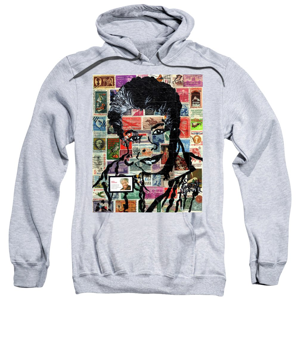 African Mask Sweatshirt featuring the mixed media Maya Angelou by Everett Spruill