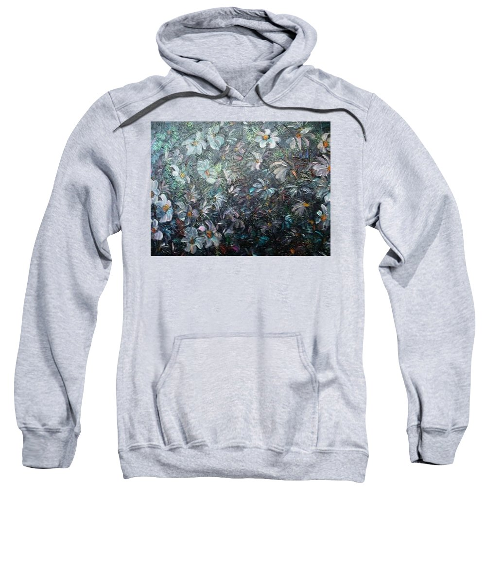 Floral Daisies Abstract Sweatshirt featuring the painting Moonlight And Daisies.. by Karin Dawn Kelshall- Best