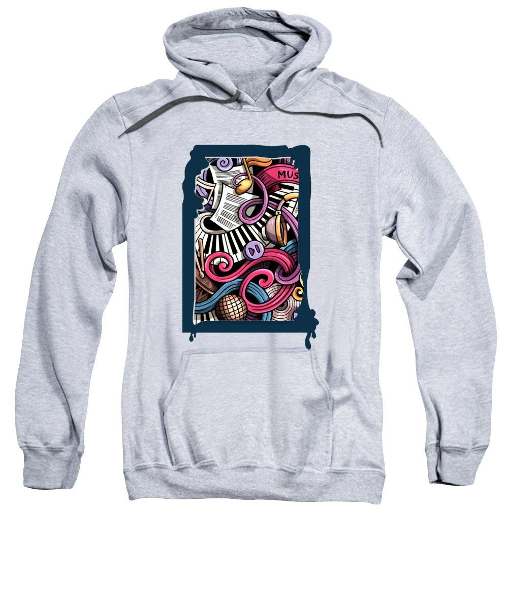 Music Sweatshirt featuring the digital art Music Graffiti by Mark Ashkenazi