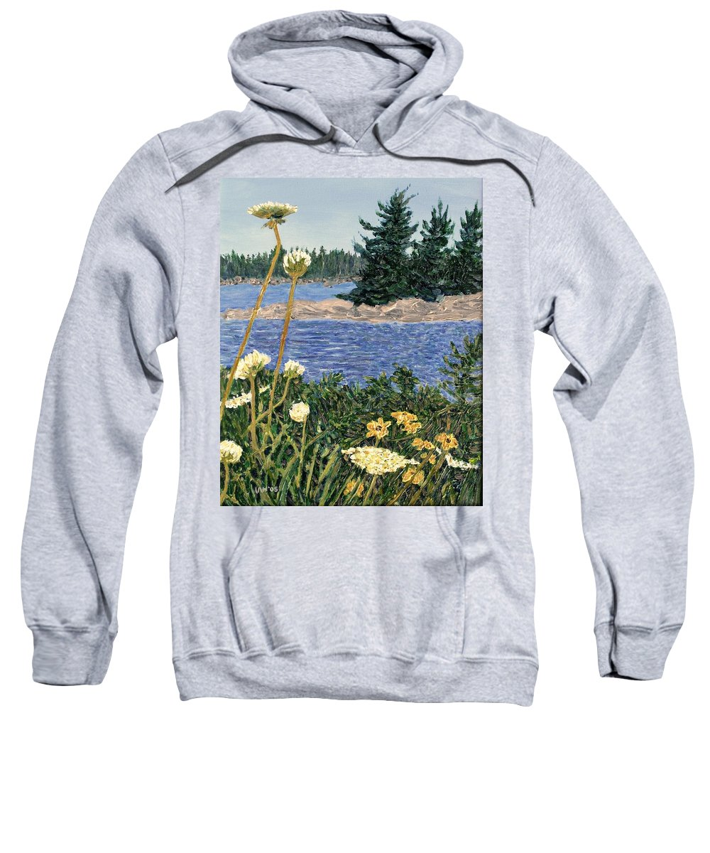 Northern Ontario Sweatshirt featuring the painting North Channel Lake Huron by Ian MacDonald