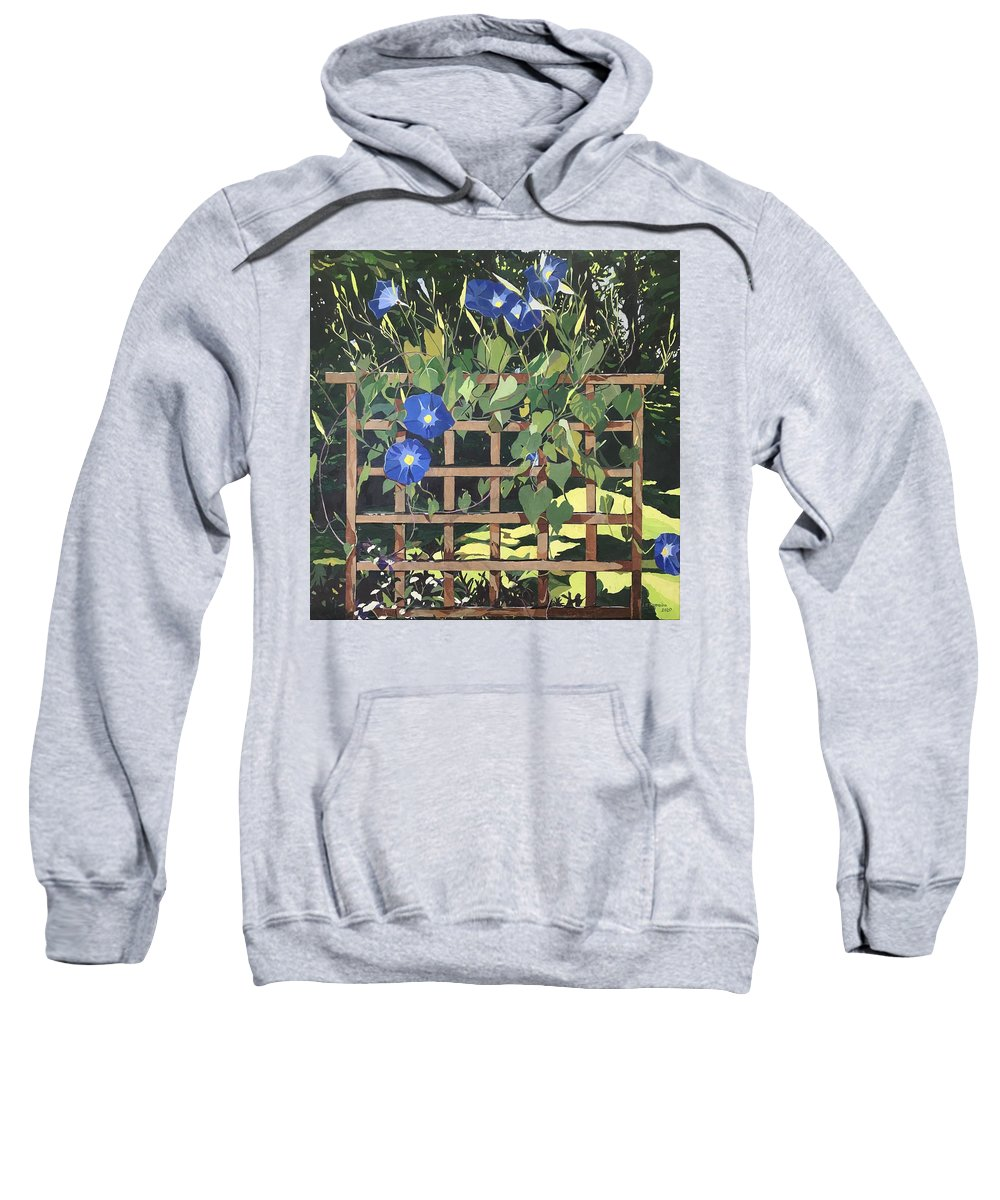 Floral Sweatshirt featuring the mixed media Oh Morning Glories by Leah Tomaino