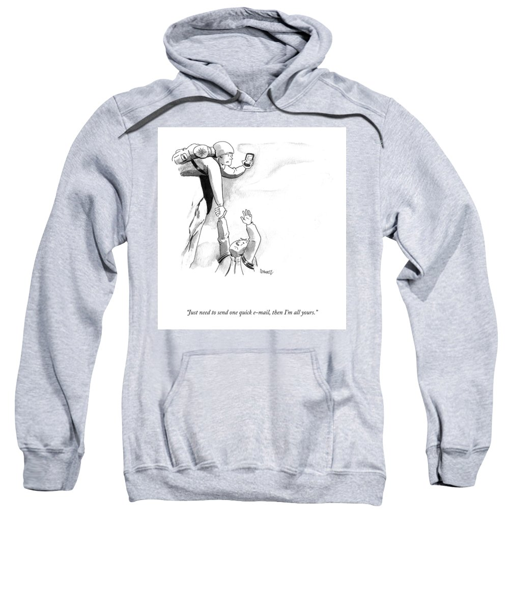 """""""just Need To Send One Quick E-mail Sweatshirt featuring the drawing One Quick Email by Benjamin Schwartz"""