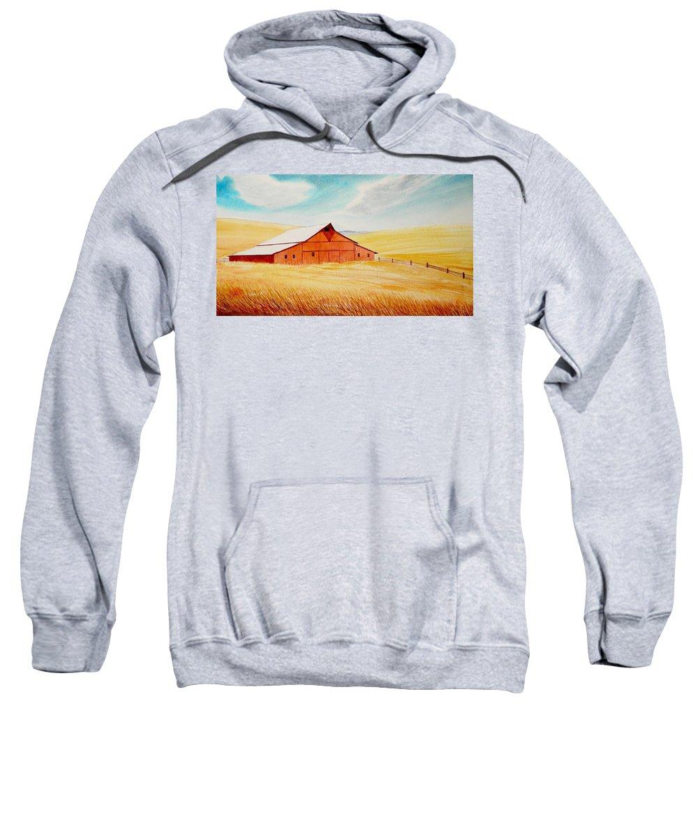 Wheat Sweatshirt featuring the painting Palouse Air by Leonard Heid