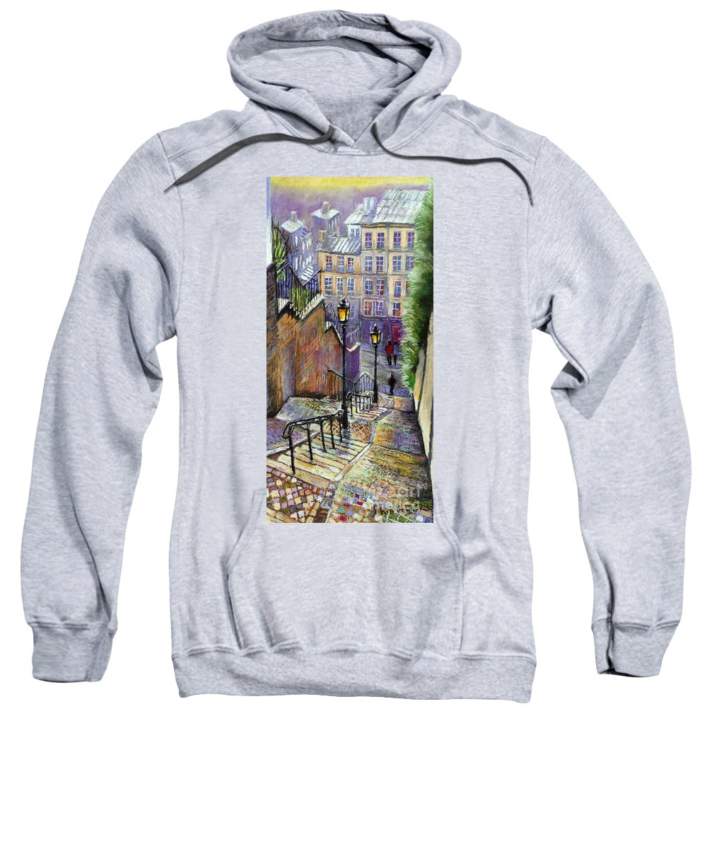 Cityscape Sweatshirt featuring the painting Paris Montmartre Steps by Yuriy Shevchuk