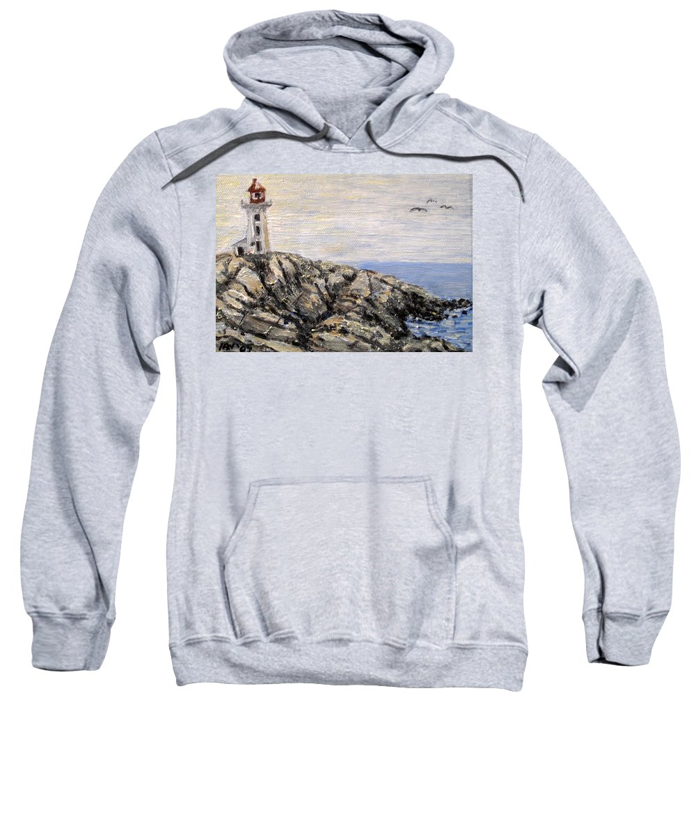 Lighthouse Sweatshirt featuring the painting Peggys Cove Nova Scotia Lighthouse by Ian MacDonald