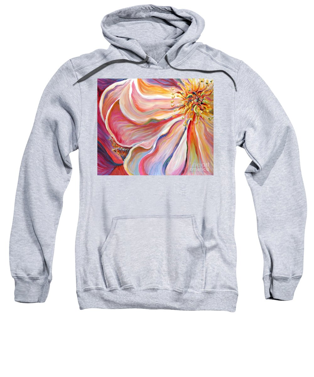 Pink Poppy Sweatshirt featuring the painting Pink Poppy by Nadine Rippelmeyer