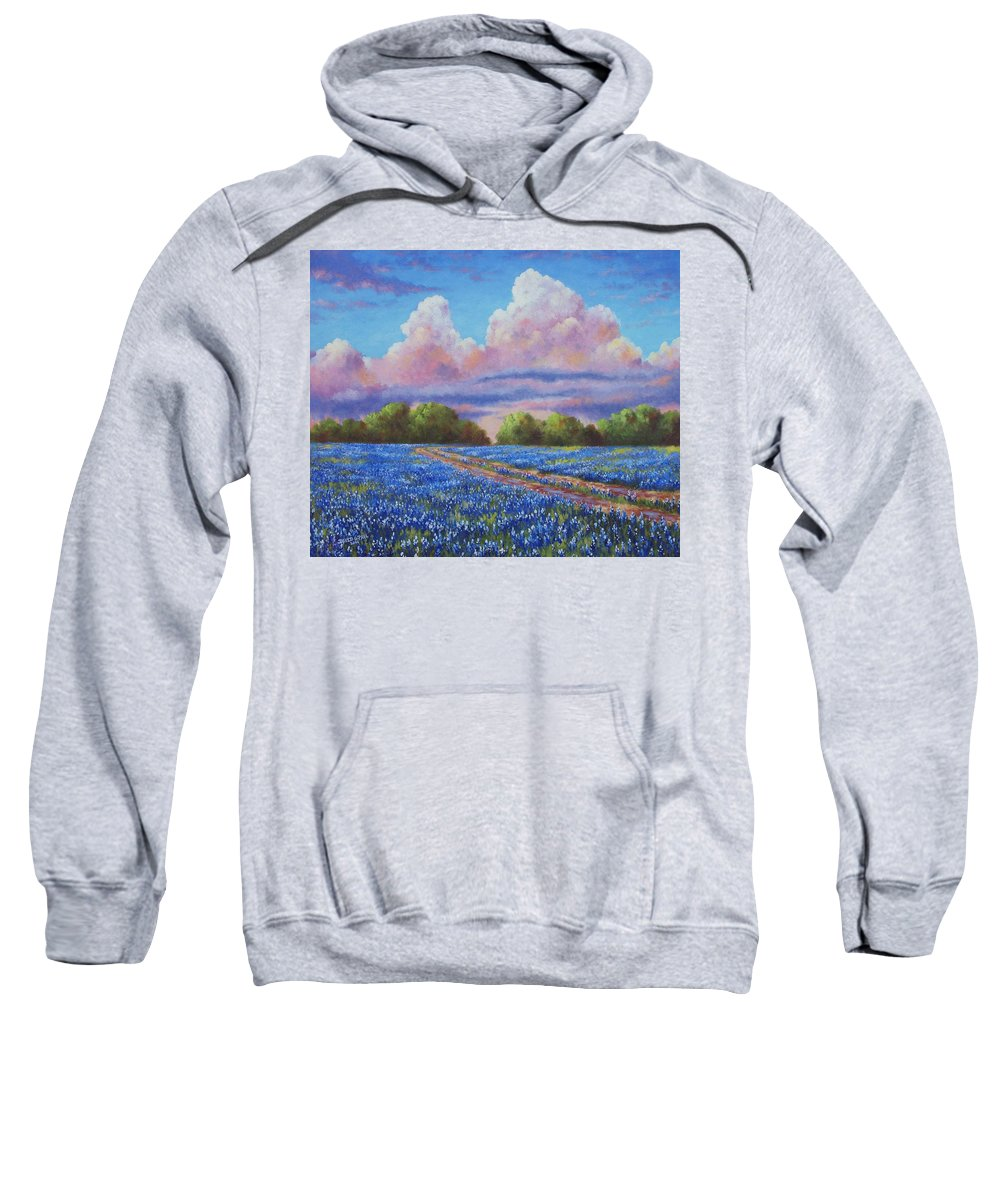 Rain Sweatshirt featuring the painting Rain For The Bluebonnets by David G Paul