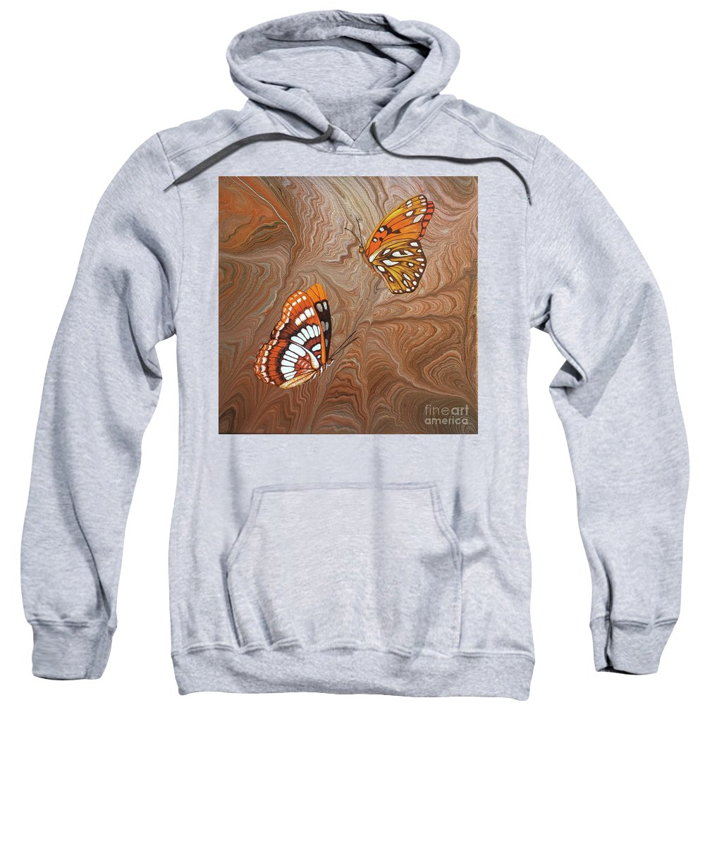 California Butterflies Sweatshirt featuring the painting Red Sandstone and CA Butterflies by Lucy Arnold