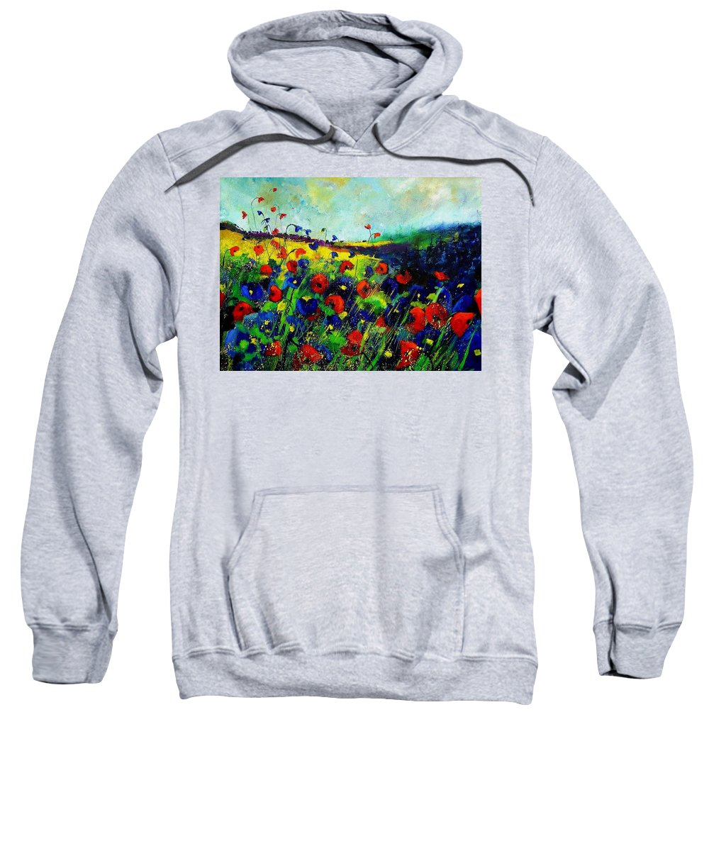 Flowers Sweatshirt featuring the painting Reda nd blue poppies 68 by Pol Ledent