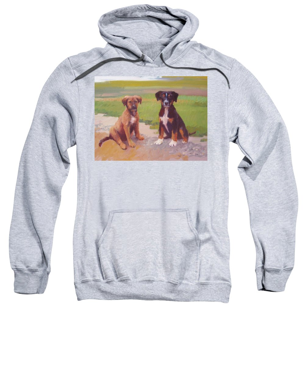 Pet Portrait Sweatshirt featuring the painting Rusty and Bandit by Dianne Panarelli Miller