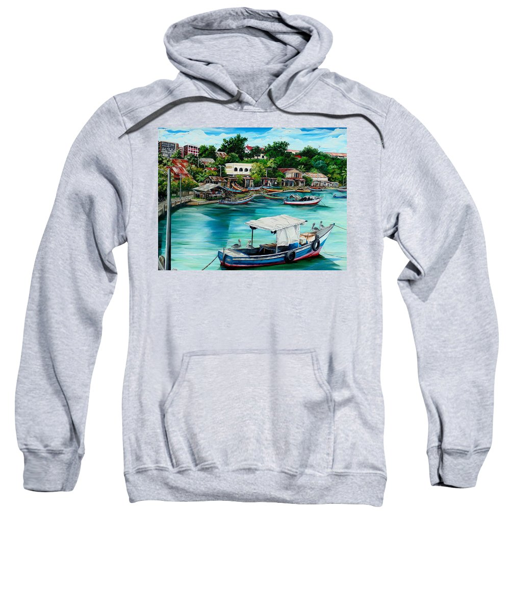 Ocean Painting Sea Scape Painting Fishing Boat Painting Fishing Village Painting Sanfernando Trinidad Painting Boats Painting Caribbean Painting Original Oil Painting Of The Main Southern Town In Trinidad  Artist Pob Sweatshirt featuring the painting Sanfernando Wharf by Karin Dawn Kelshall- Best
