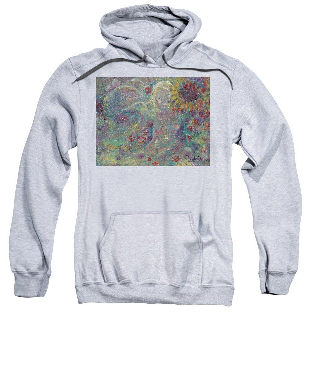 Angels Sweatshirt featuring the painting Secret Garden Angel 1 by Natalie Holland