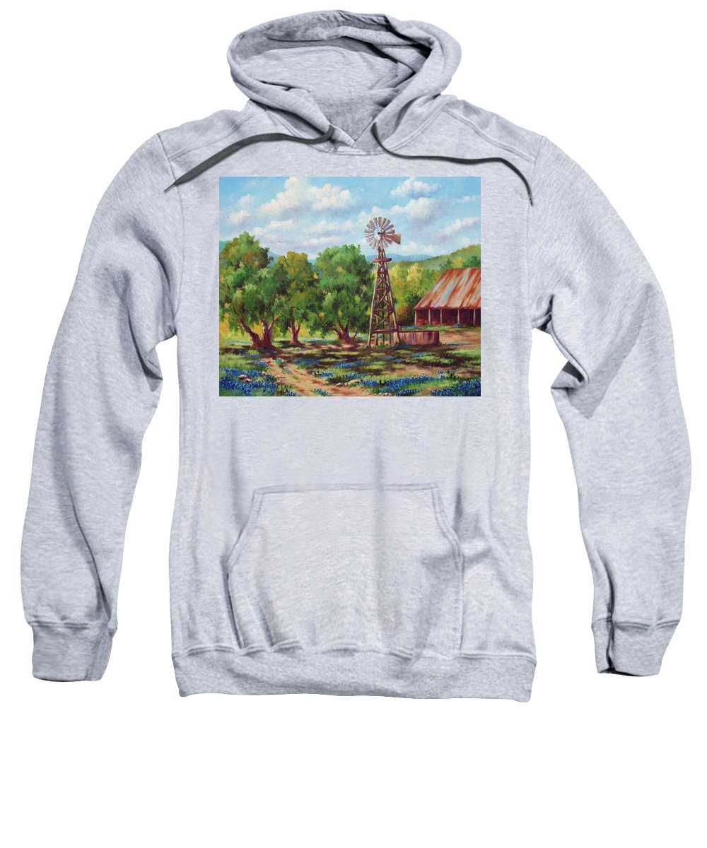 Landscape Sweatshirt featuring the painting Shadows In The Farmyard by David G Paul