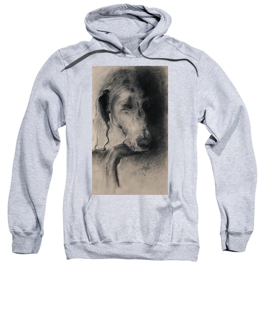 Weimaraner Sweatshirt featuring the drawing Silhouette by Cori Solomon