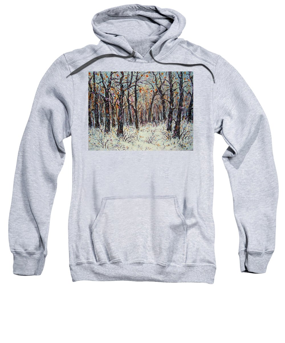 Landscape Sweatshirt featuring the painting Snowing In The Forest by Natalie Holland