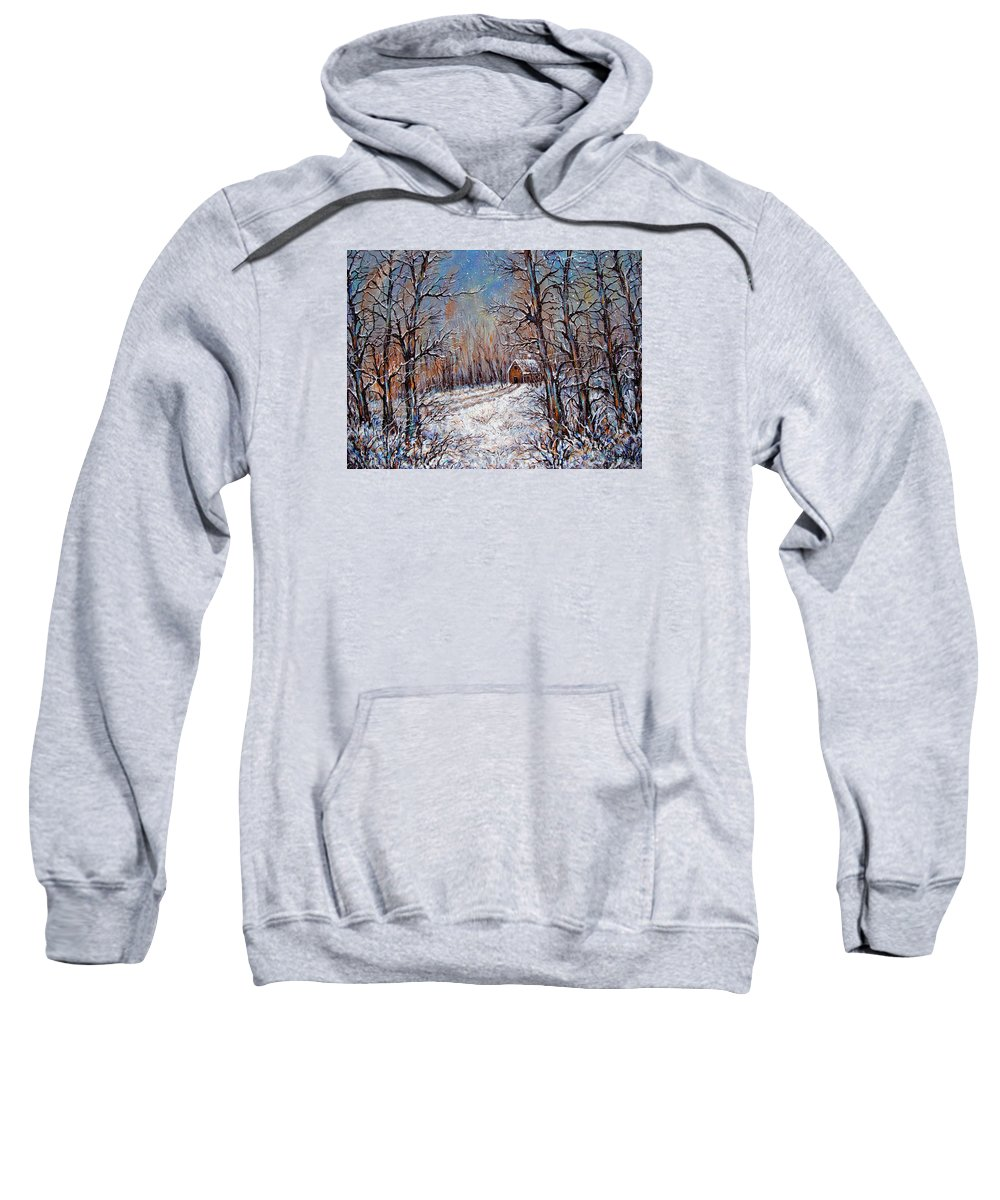 Landscape Sweatshirt featuring the painting Snowing in the Woods by Natalie Holland