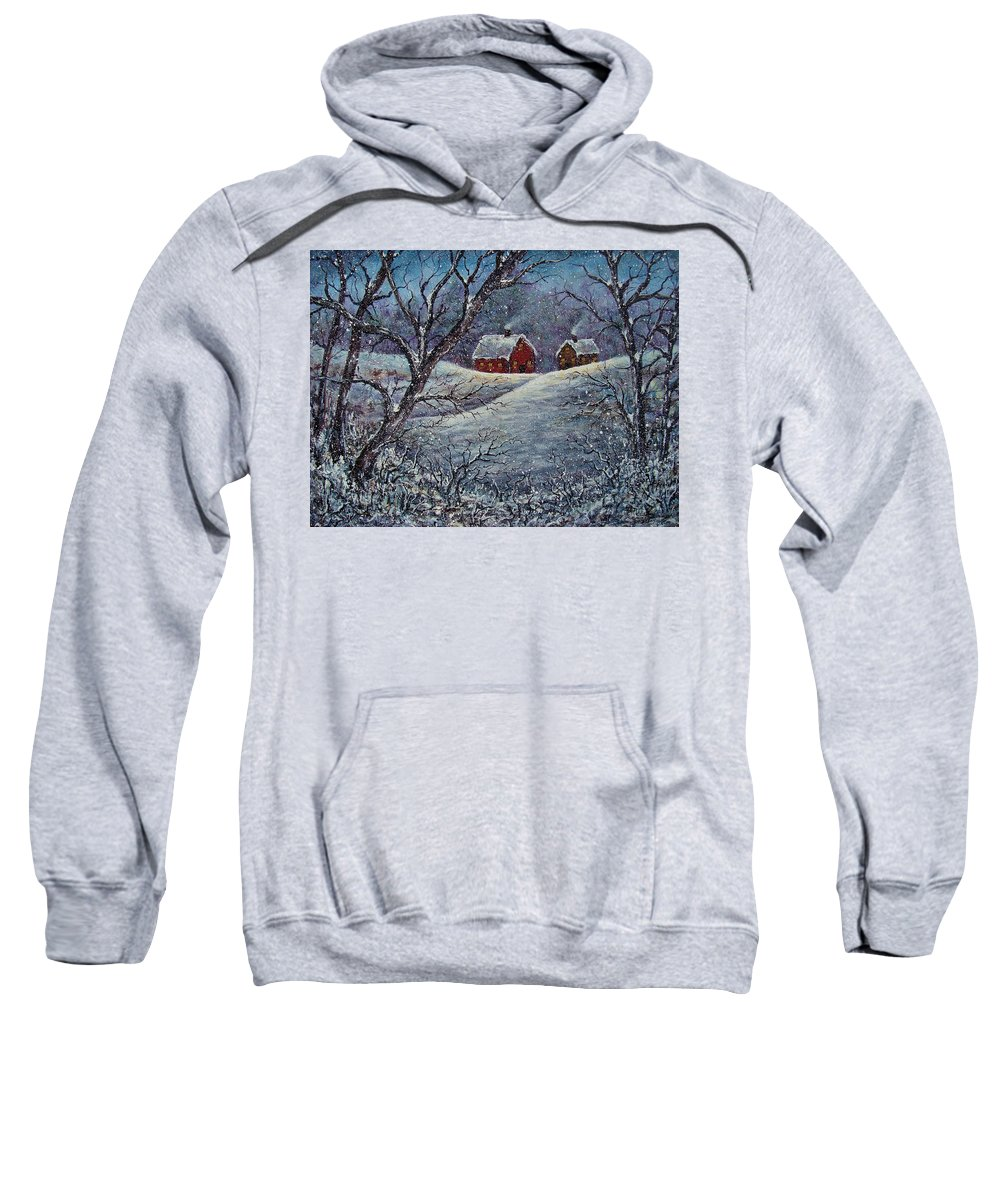Landscape Sweatshirt featuring the painting Snowy Day by Natalie Holland
