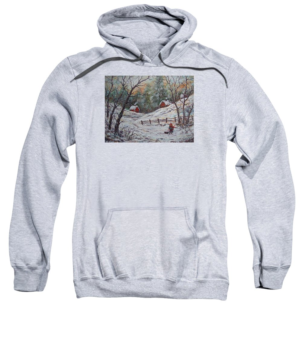 Landscape Sweatshirt featuring the painting Snowy Walk. by Natalie Holland