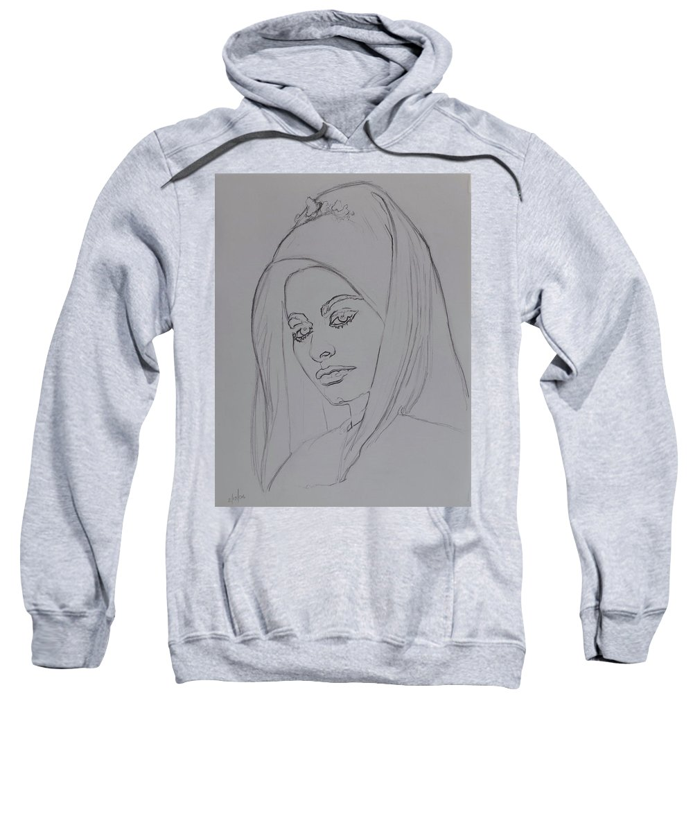 Woman Sweatshirt featuring the drawing Sophia Loren In Headdress by Sean Connolly