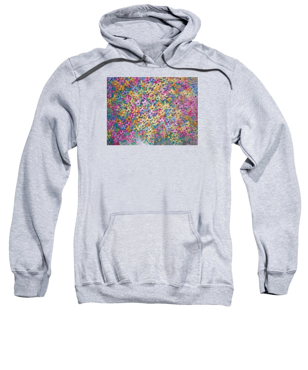 Flowers Sweatshirt featuring the painting Spring floral bouquet. by Natalie Holland
