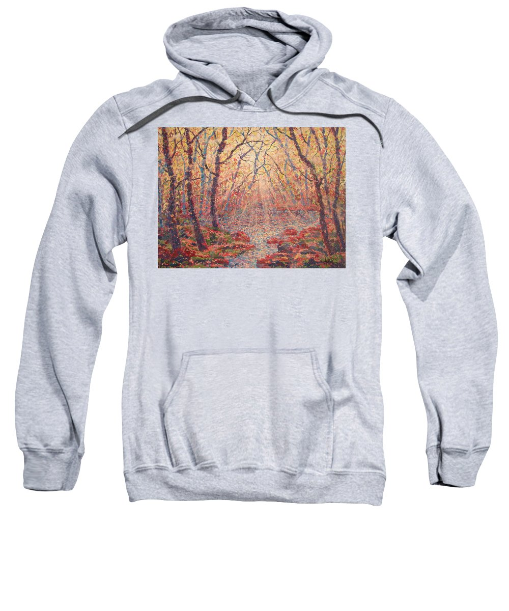 Painting Sweatshirt featuring the painting Sun Rays Through The Trees. by Leonard Holland