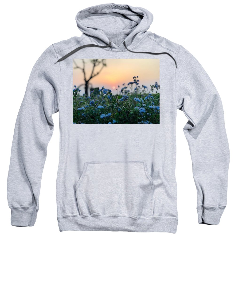 Flowers Sweatshirt featuring the photograph Sunset Behind Flowers by Prashant Dalal