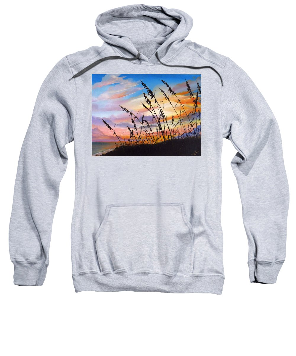 Ocean Painting Sweatshirt featuring the painting Sunset Fort Desoto Beach by Karin Dawn Kelshall- Best