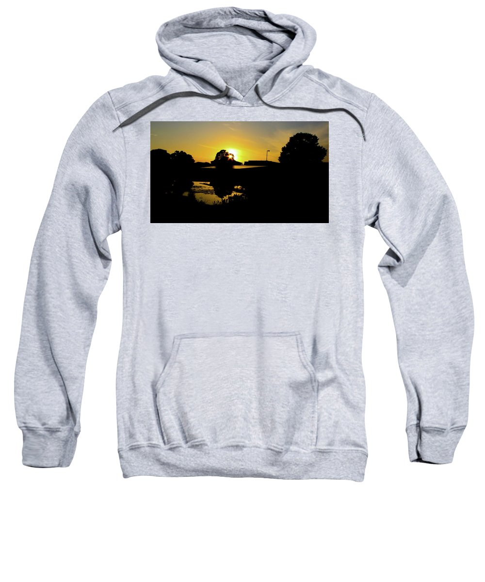 Landscape Sweatshirt featuring the digital art Sunset over Building by Daniel Cornell
