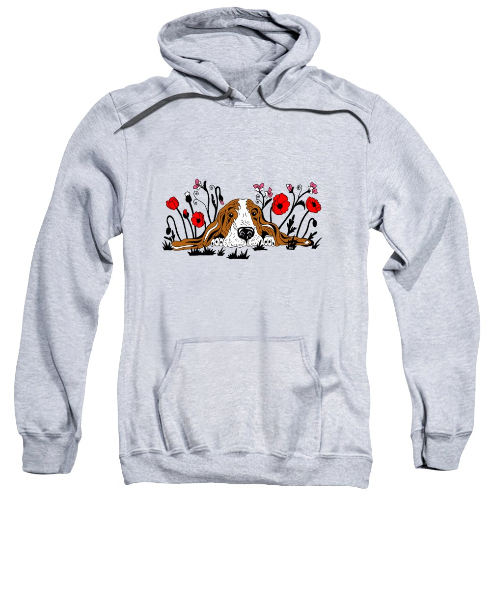 Sweet Sweatshirt featuring the painting Super Adorable Basset Puppy Lying In The Flower Field by Irina Sztukowski
