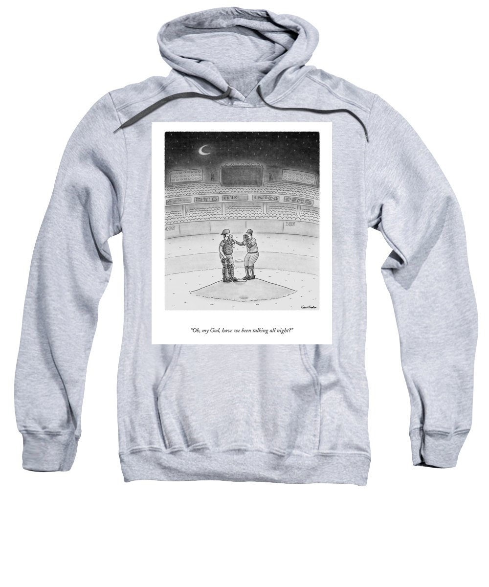 A25519 Sweatshirt featuring the drawing Talking All Night by Dan Misdea