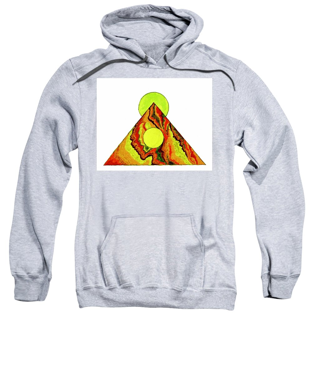 Abstract Sweatshirt featuring the painting Temple of the Sun and Moon by Della McGee