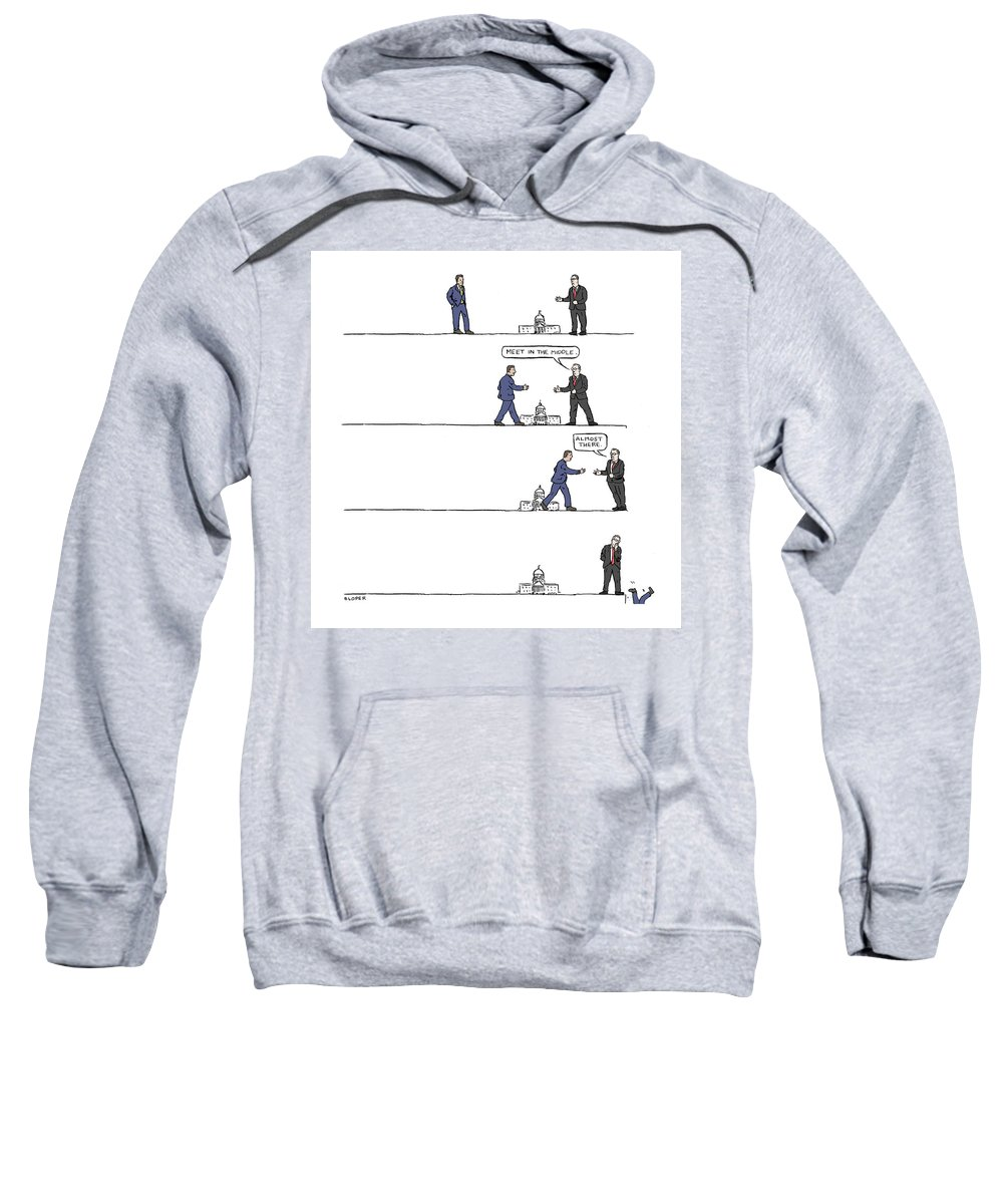 Captionless Sweatshirt featuring the drawing The Art of Political Compromise by Brendan Loper