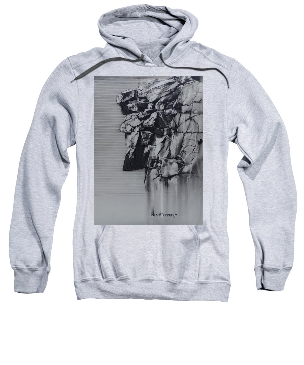 Charcoal Pencil Sweatshirt featuring the drawing The Old Man Of The Mountain by Sean Connolly