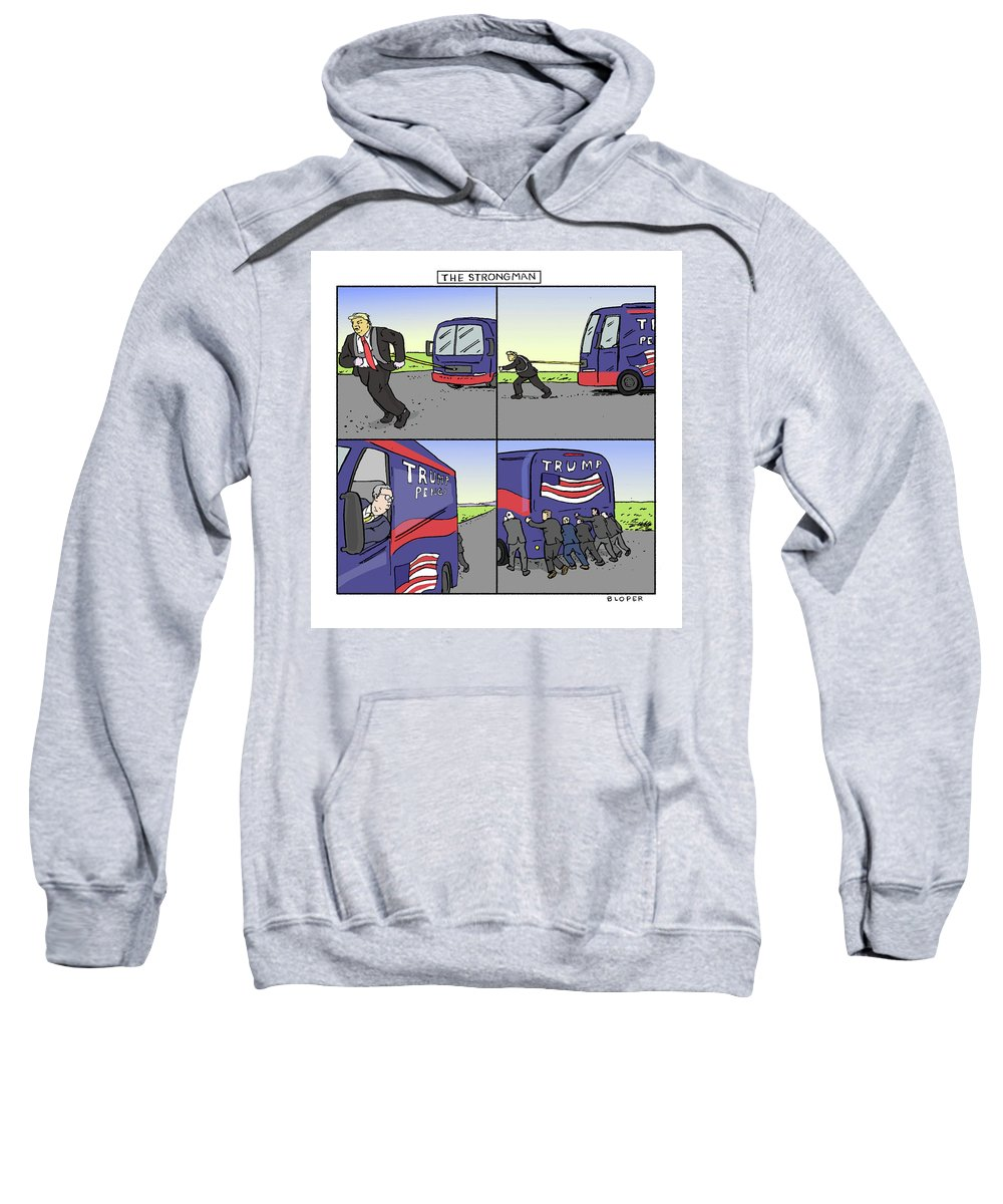 Captionless Sweatshirt featuring the drawing The Strongman by Brendan Loper