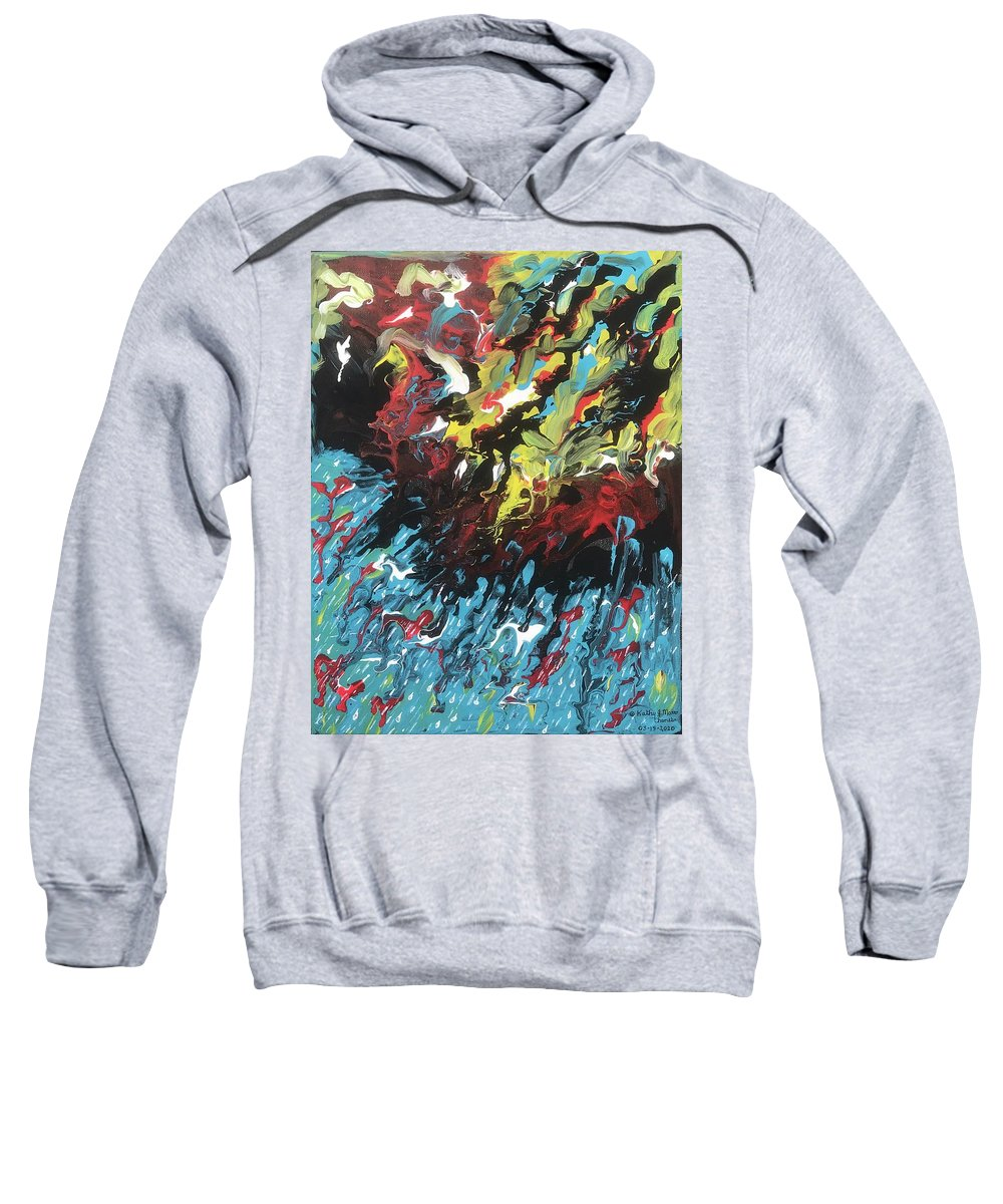 Thunderstorm Sweatshirt featuring the painting Thunderstorm by Kathy Marrs Chandler