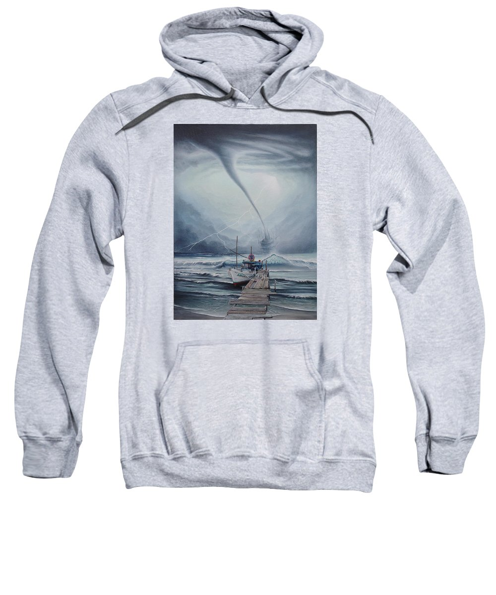 Seascape Sweatshirt featuring the painting Tifon   water sprout by Angel Ortiz