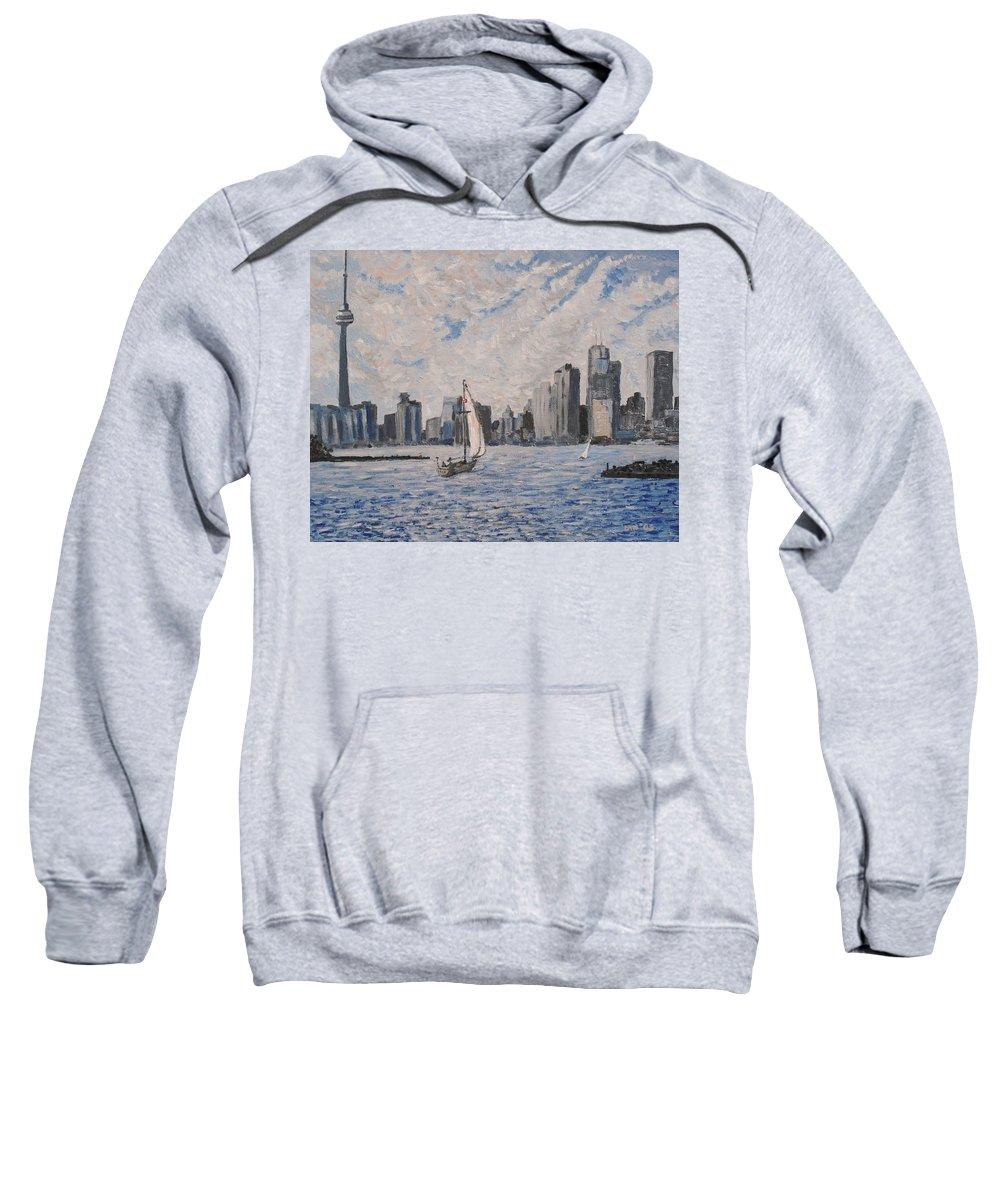 Toronto Sweatshirt featuring the painting Toronto Harbor East Gap by Ian MacDonald