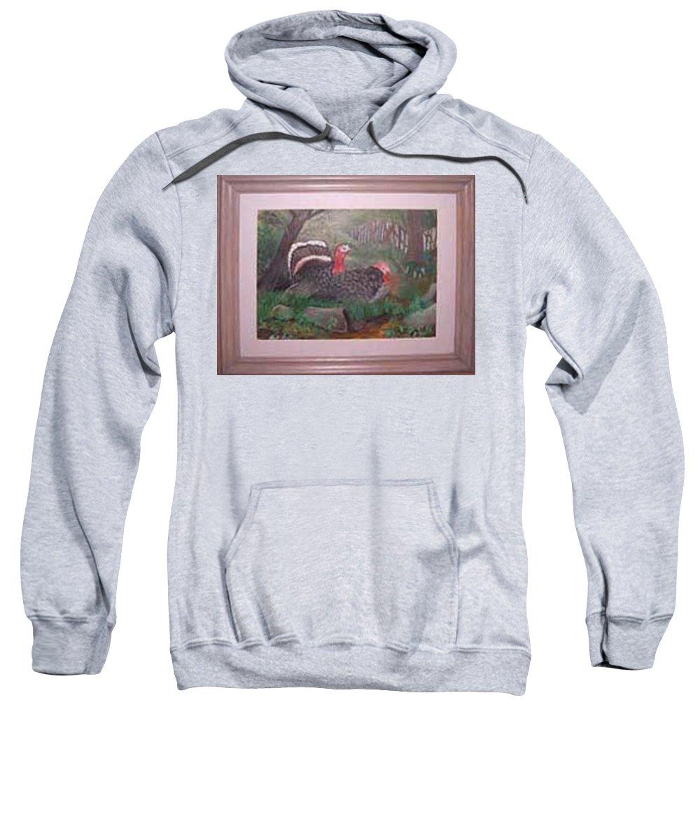 Rick Huotari Sweatshirt featuring the painting Turkeys by Rick Huotari