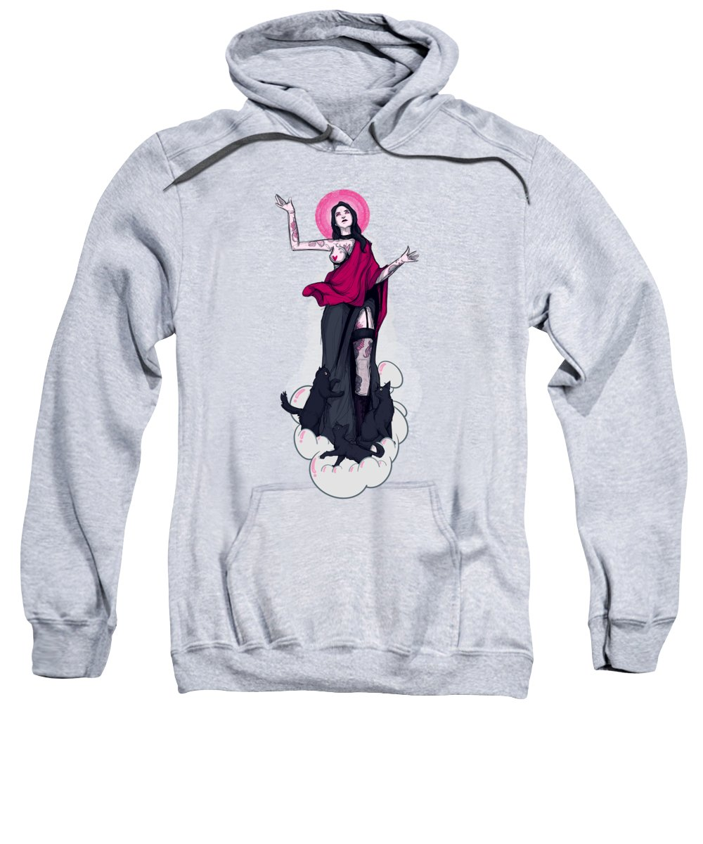 Mary Sweatshirt featuring the drawing Unholy Mother by Ludwig Van Bacon