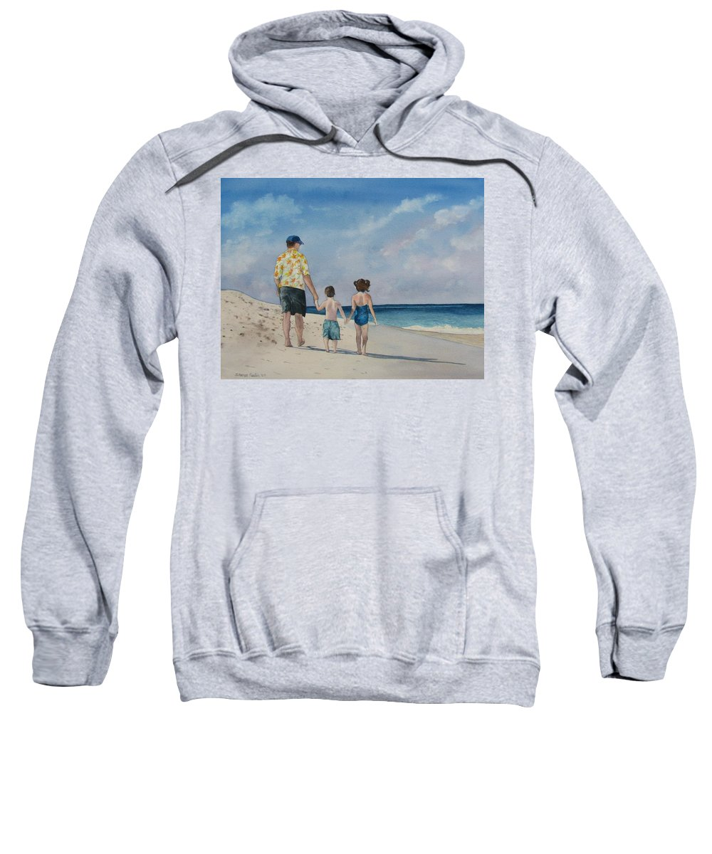 Landscape Sweatshirt featuring the painting Walk on the Beach by Sharon Farber
