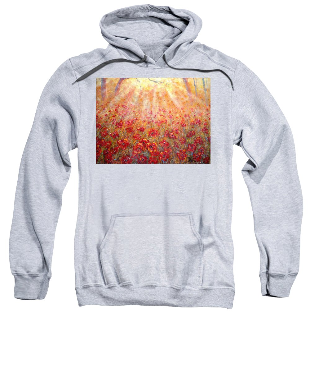 Landscape Sweatshirt featuring the painting Warm Sun Rays by Natalie Holland