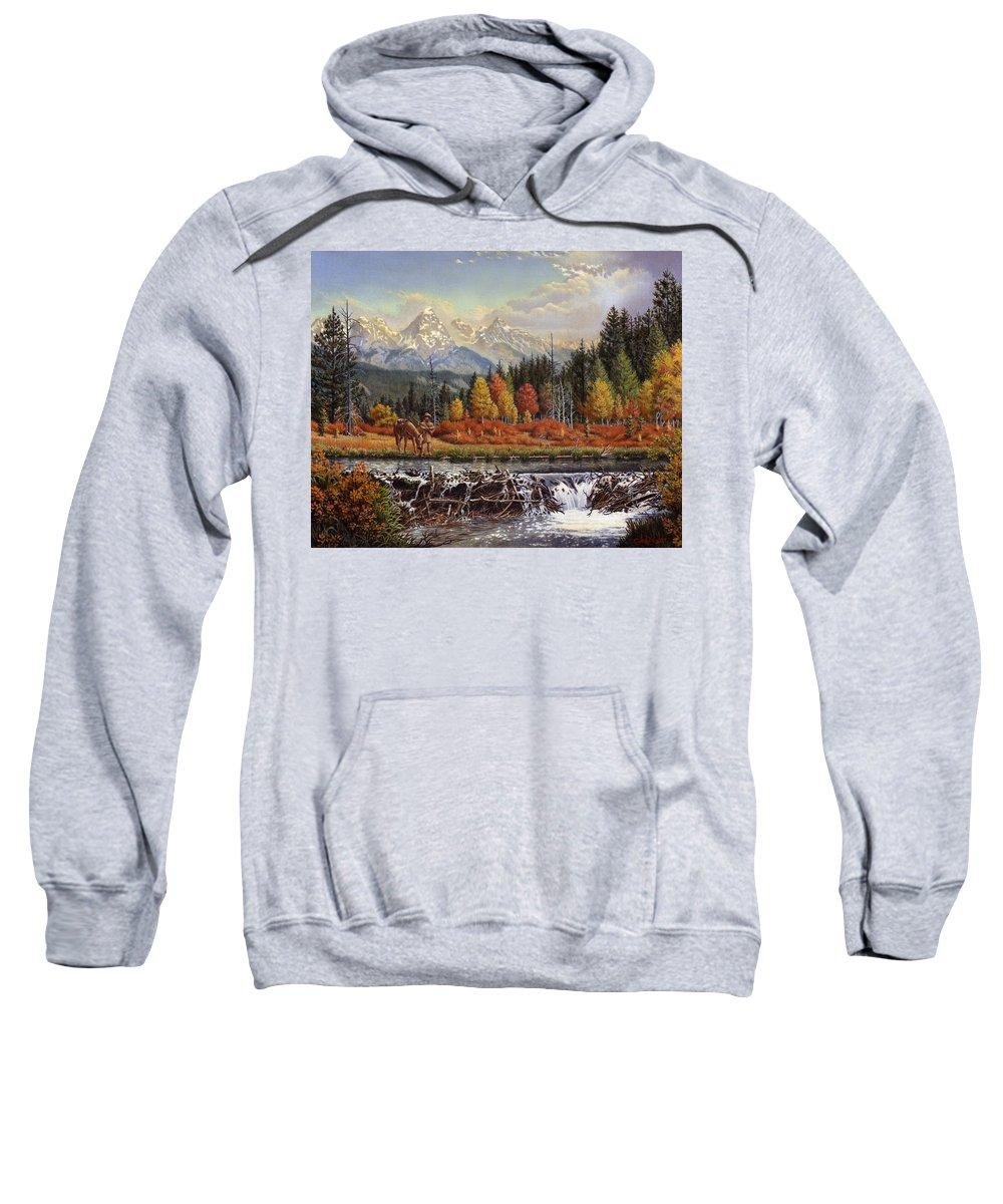 Western Mountain Landscape Sweatshirt featuring the painting Western Mountain Landscape Autumn Mountain Man Trapper Beaver Dam Frontier Americana Oil Painting by Walt Curlee