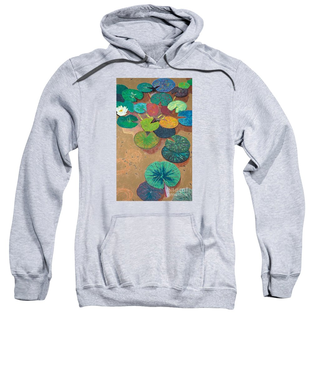 Landscape Sweatshirt featuring the painting White Lily by Allan P Friedlander