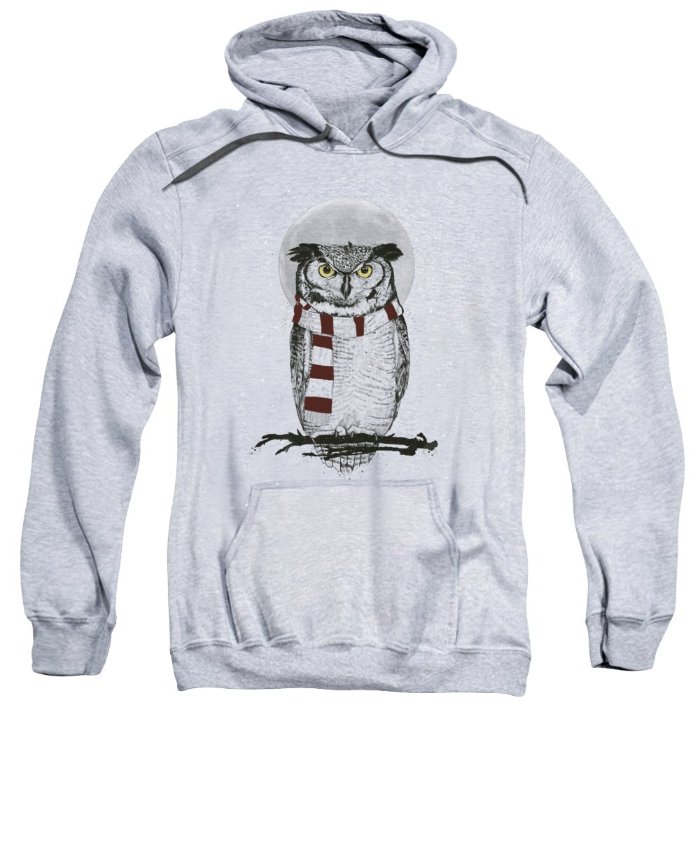 Owl Sweatshirt featuring the drawing Winter Owl II by Balazs Solti