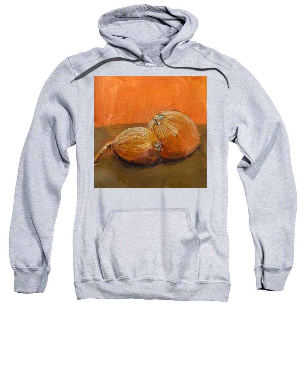 Agriculture Sweatshirt featuring the painting Yellow Onions Still Life by Michelle Calkins