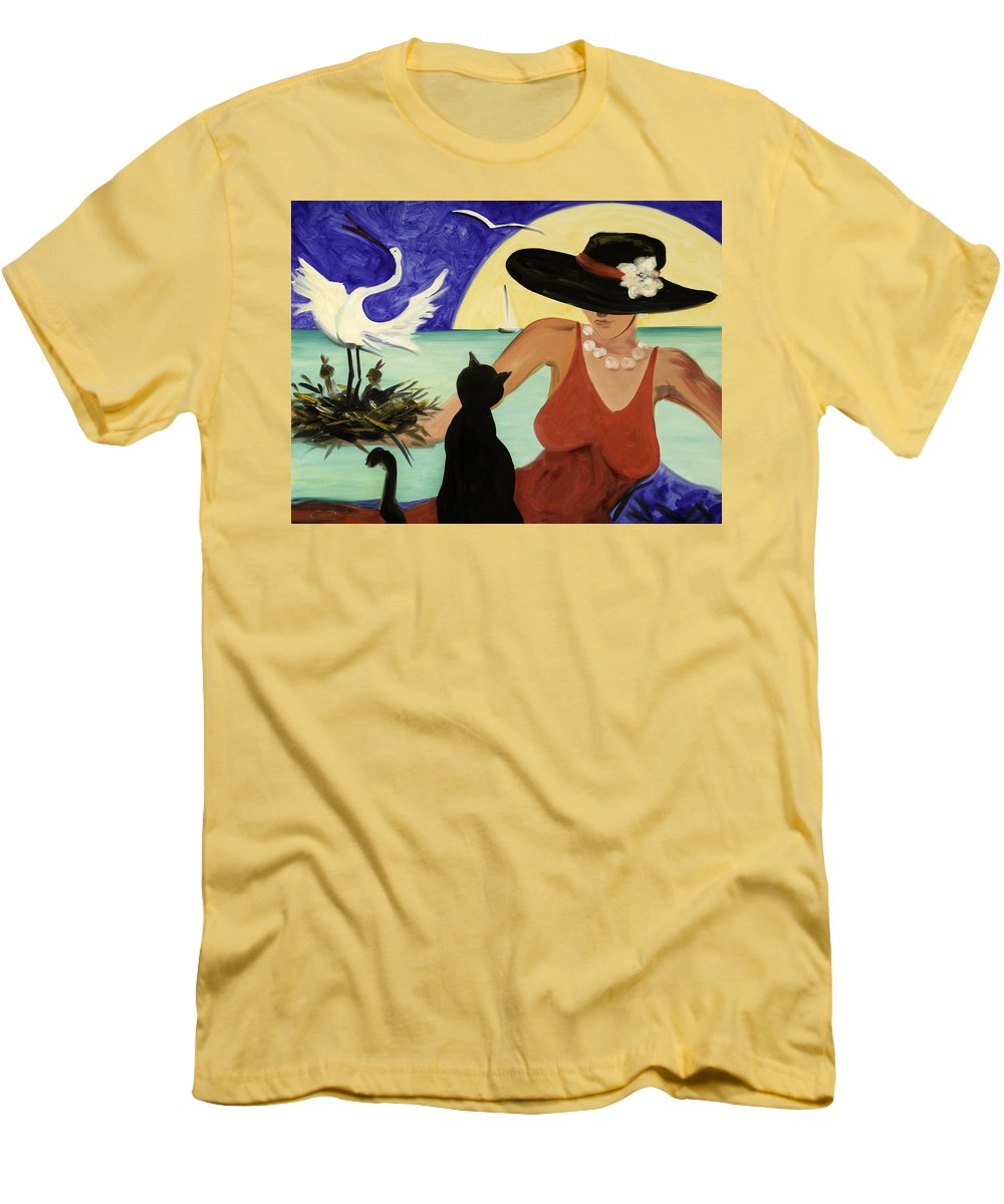 Colorful Art Men's T-Shirt (Athletic Fit) featuring the painting Living The Dream by Gina De Gorna