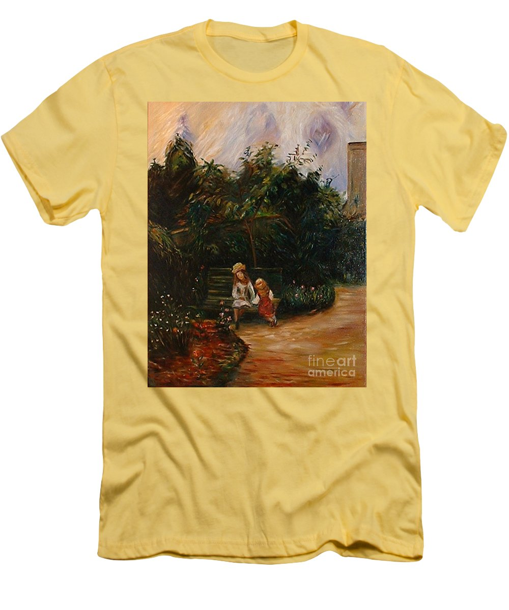 Classic Art Men's T-Shirt (Athletic Fit) featuring the painting A Corner Of The Garden At The Hermitage by Silvana Abel