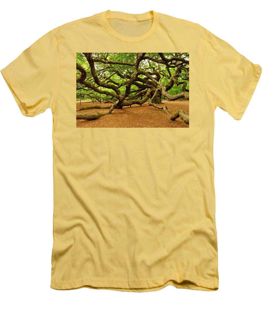 Nature Men's T-Shirt (Athletic Fit) featuring the photograph Angel Oak Tree Branches by Louis Dallara