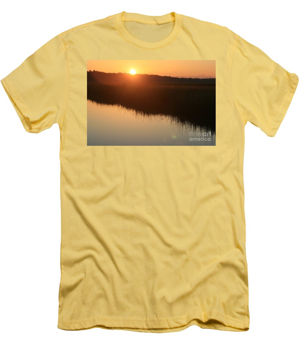 Sunrise Men's T-Shirt (Athletic Fit) featuring the photograph Autumn Sunrise Over The Marsh by Nadine Rippelmeyer